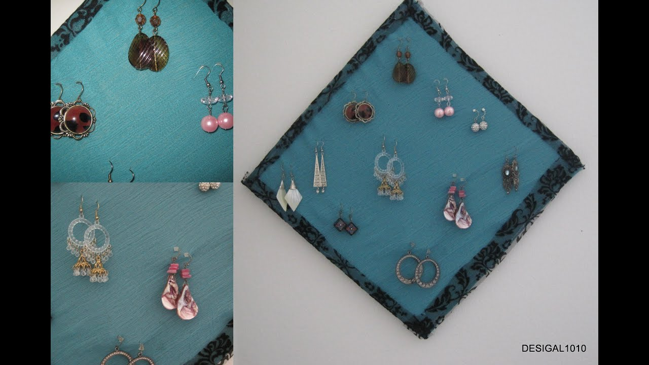 Diy earring holder and organization using waste material for Waste material video