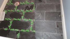 Installing Large format ungauged Slate tile with MLT leveling system.