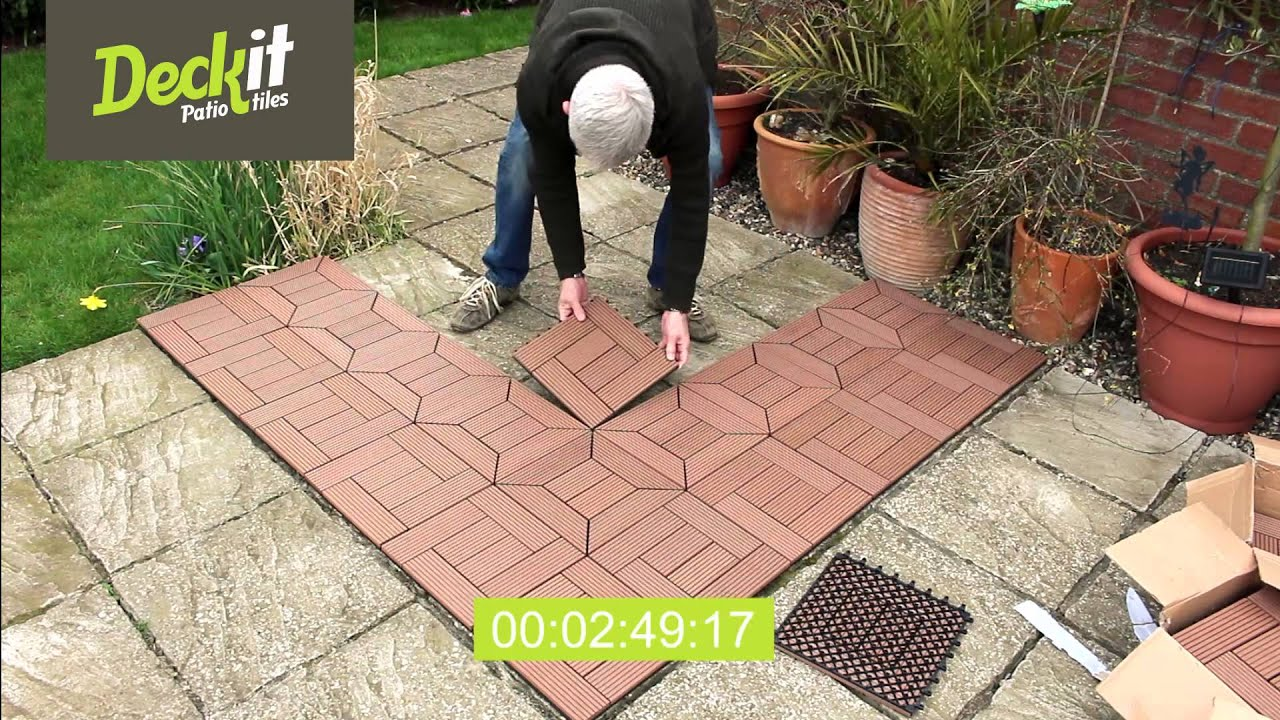 How to install Deckit Bamboo Decking Tiles - YouTube