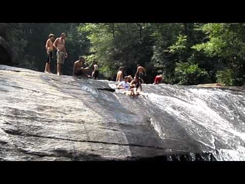 Sliding Down Turtleback Falls, Dupont National Forest