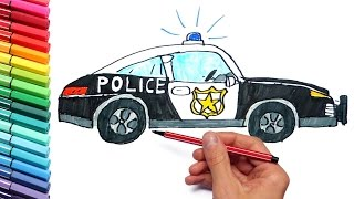 How To Draw And Paint Police Car for Children - Learning Street Vehicles Drawing and Coloring