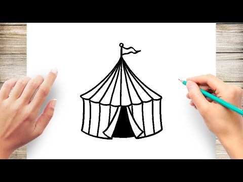 How To Draw Circus Tent Step By Step
