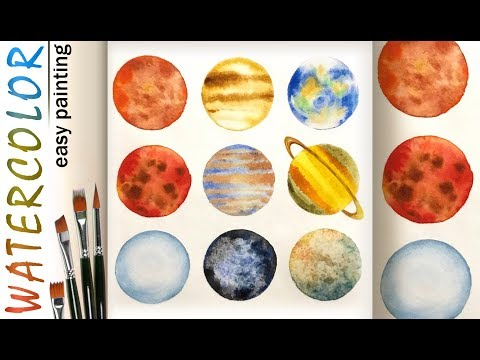 Watercolor painting tutorial! Solar System and Planets! How to paint. How to draw. Easy. Beginners.