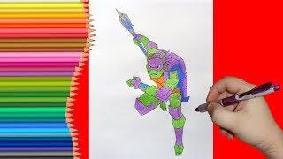 How to draw Donatello, TMNT 2018, Как нарисовать Черепашку Ниндзя