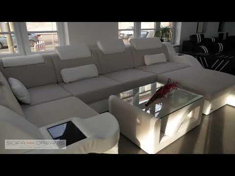 Sofa Dreams Stoffsofa Wohnlandschaft Palermo in der XXL Ausführung mit Beleuchtung