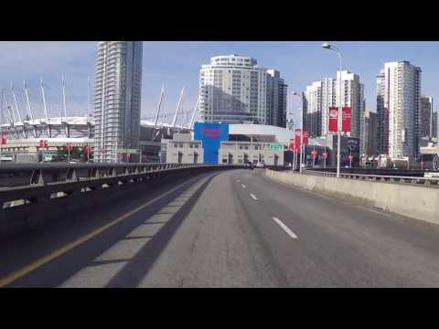 Driving into Downtown Vancouver BC Canada - Rogers Arena Stadium (Home of the Canucks)