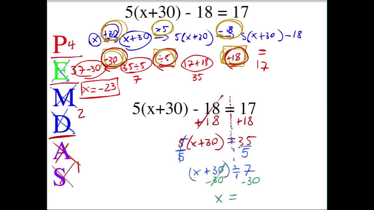 Solving equations with reverse PEMDAS - YouTube