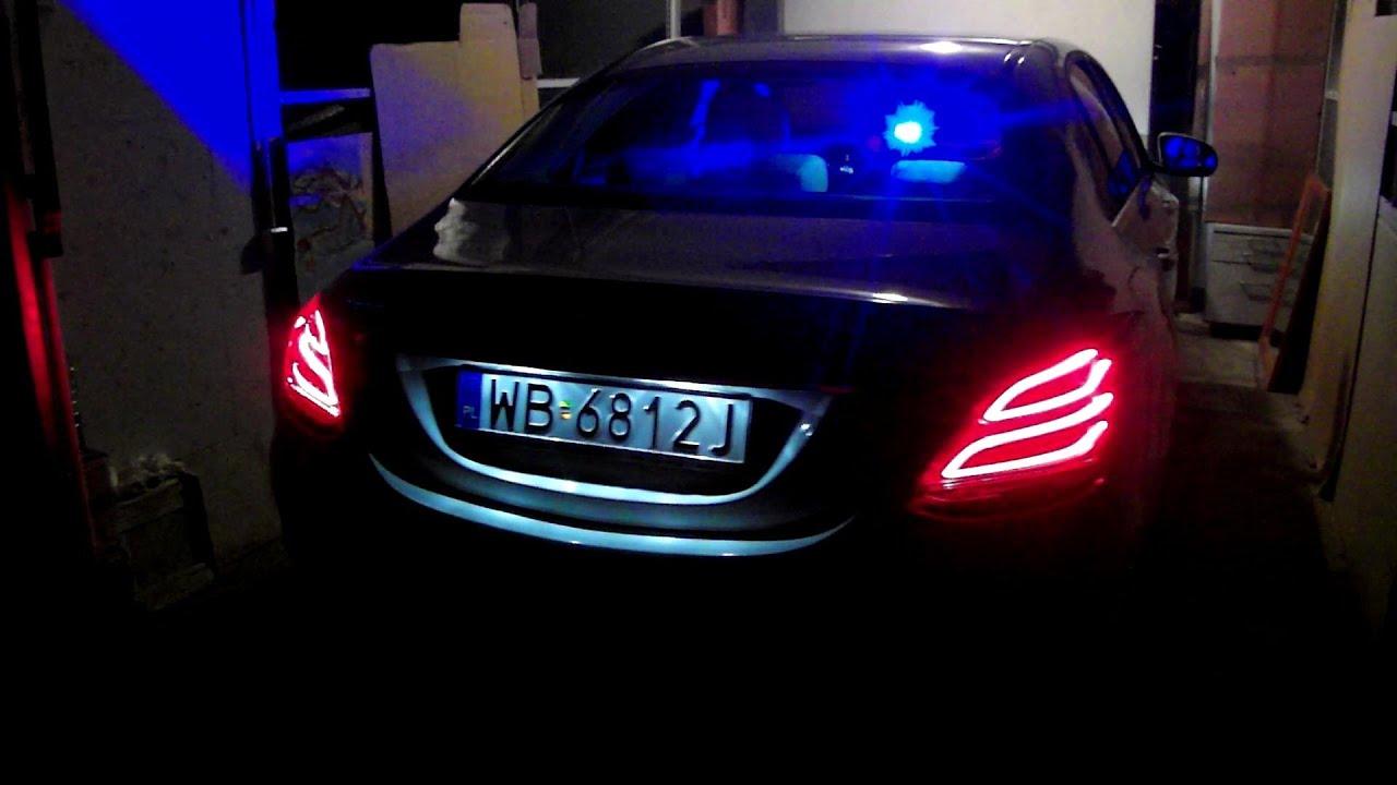Car Lights Night Wallpaper 2015 Mercedes C Class W205 Police Car Lights Signal Night