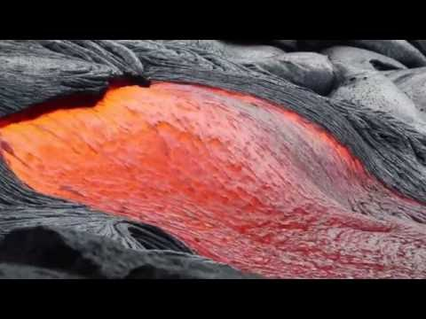 Hawaii Lava Flow at night and day on the Big Island