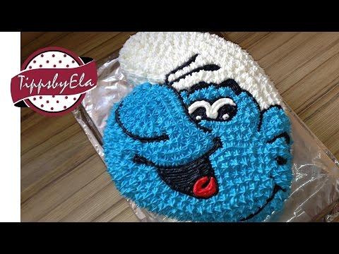 hpw to make a smurfs cake / smurfette cake / the smurfs - english