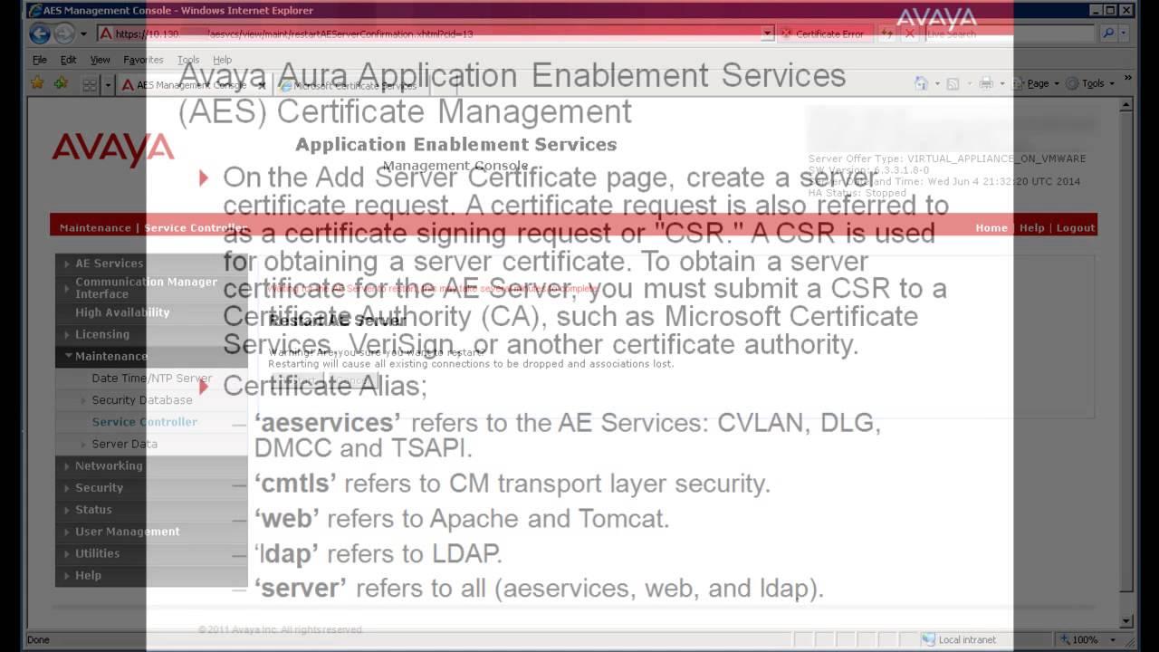 Avaya aura application enablement services administering avaya aura application enablement services administering certificates 1betcityfo Gallery