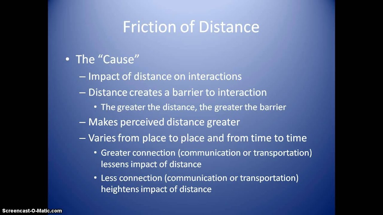 Ap Human Geography Friction Of Distance And Distance Decay Youtube