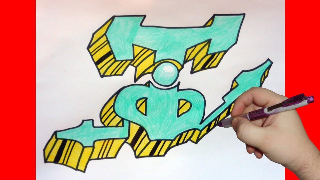 How to draw graffiti letter T, Как нарисовать граффити букву