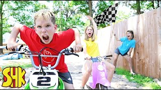 Dirt Bike Race Challenge and Most Epic Races Classic SuperHeroKids Funny Family Videos Compilation