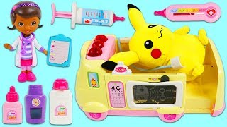 Download Pokemon PIKACHU Gets Sick and Visits Doc McStuffins Pet Vet Toy Hospital Ambulance! Mp3 and Videos