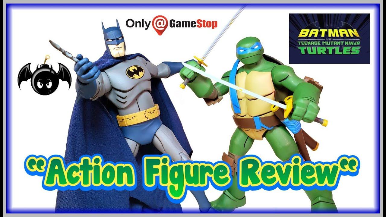 Dc Collectibles Batman Vs The Tmnt Batman Leonardo Action Figures Review Gamestop Exclusive Youtube