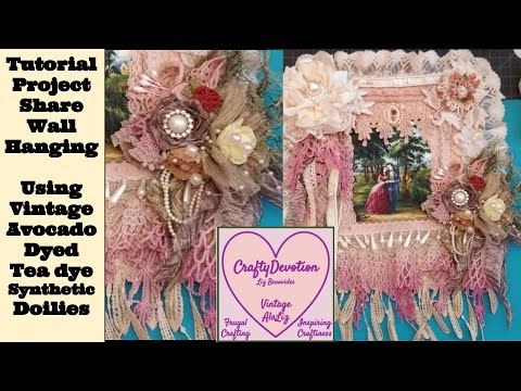 1 Wall Hanging Doily Designs Tutorial, Repurpose Vintage Doily, remake, Shabby Decor.  Diy how to