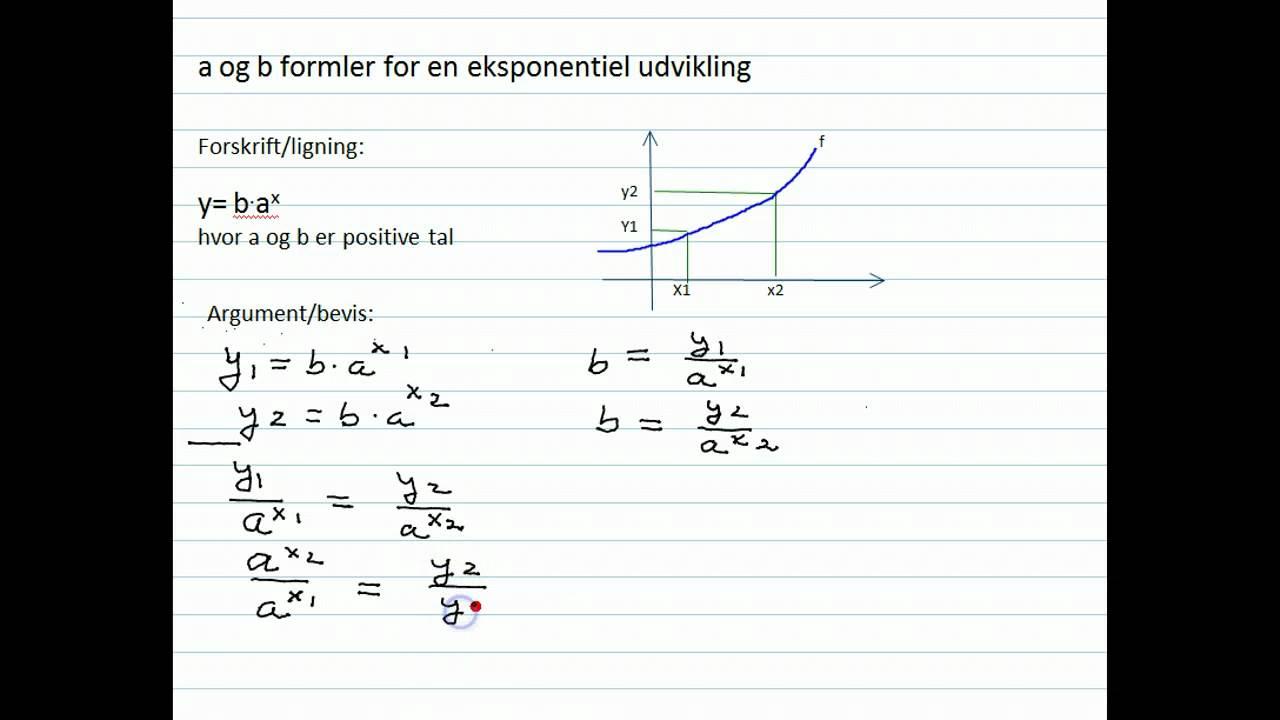 eksponentiel funktion formel