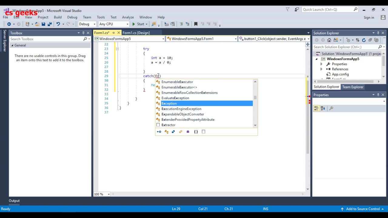 Visual Studio C# tutorial 14 Try, Catch and Finally