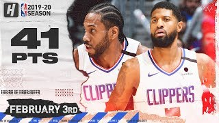 Paul George & Kawhi Leonard 41 Pts Full Combined Highlights   Spurs vs Clippers   February 3, 2020