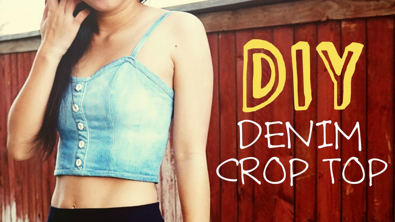 456b3585c170d DIY Upcycled Denim Crop Top - YouTube