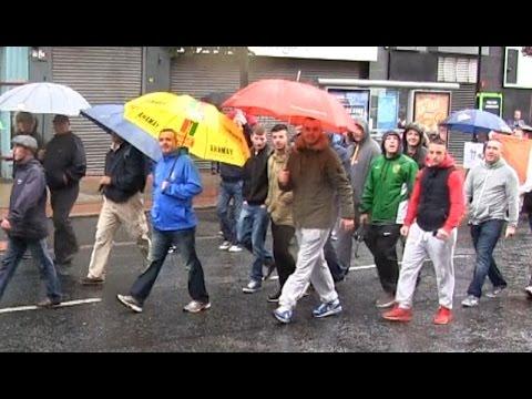 Republican parade goes through Belfast City Centre.