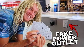 Fake Power Outlet Prank GONE WRONG (Airport Edition)