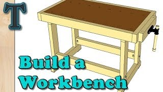 How to build a low budget woodworkers style workbench from 2x4s and plywood. This woodworking workbench can be built with a