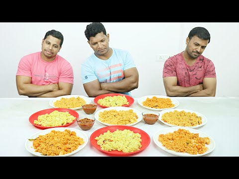 VEGETABLE RICE PANEER RICE DAL RICE AND MUSHROOM CURRY CHALLENGE | EATING | INDIAN |