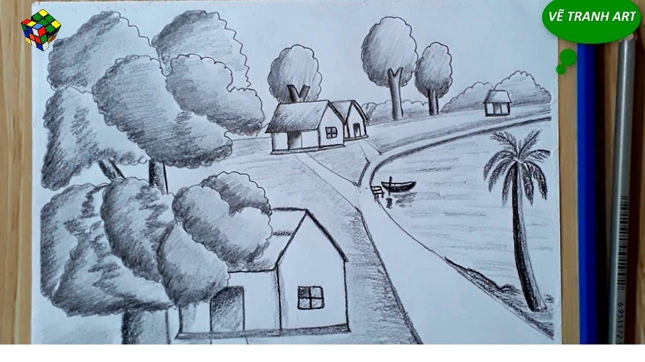 Vẽ tranh phong cảnh bằng bút chì đơn giản – Landscape painting with a pencil