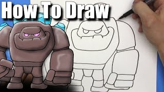 How To Draw the Rock Golem from Clash Royale - EASY  - Step By Step