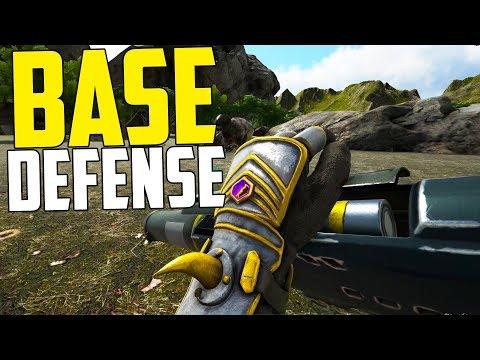 FIRST BASE DEFENSE! - Ark Survival Evolved (Ark: The Volcano PVP #7)