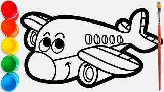 Glitter Plane coloring pages for kids, painting for toddlers / Joy Kids Art