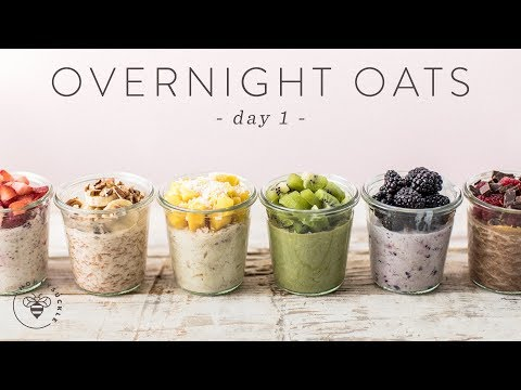 OVERNIGHT OATS 6 Ways   Easy Healthy RAINBOW Breakfasts 🐝 DAY 1   HONEYSUCKLE