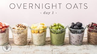 OVERNIGHT OATS 6 Ways | Easy Healthy RAINBOW Breakfasts ???? DAY 1