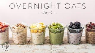OVERNIGHT OATS 6 Ways | Easy Healthy RAINBOW Breakfasts 🐝 DAY 1 | HONEYSUCKLE