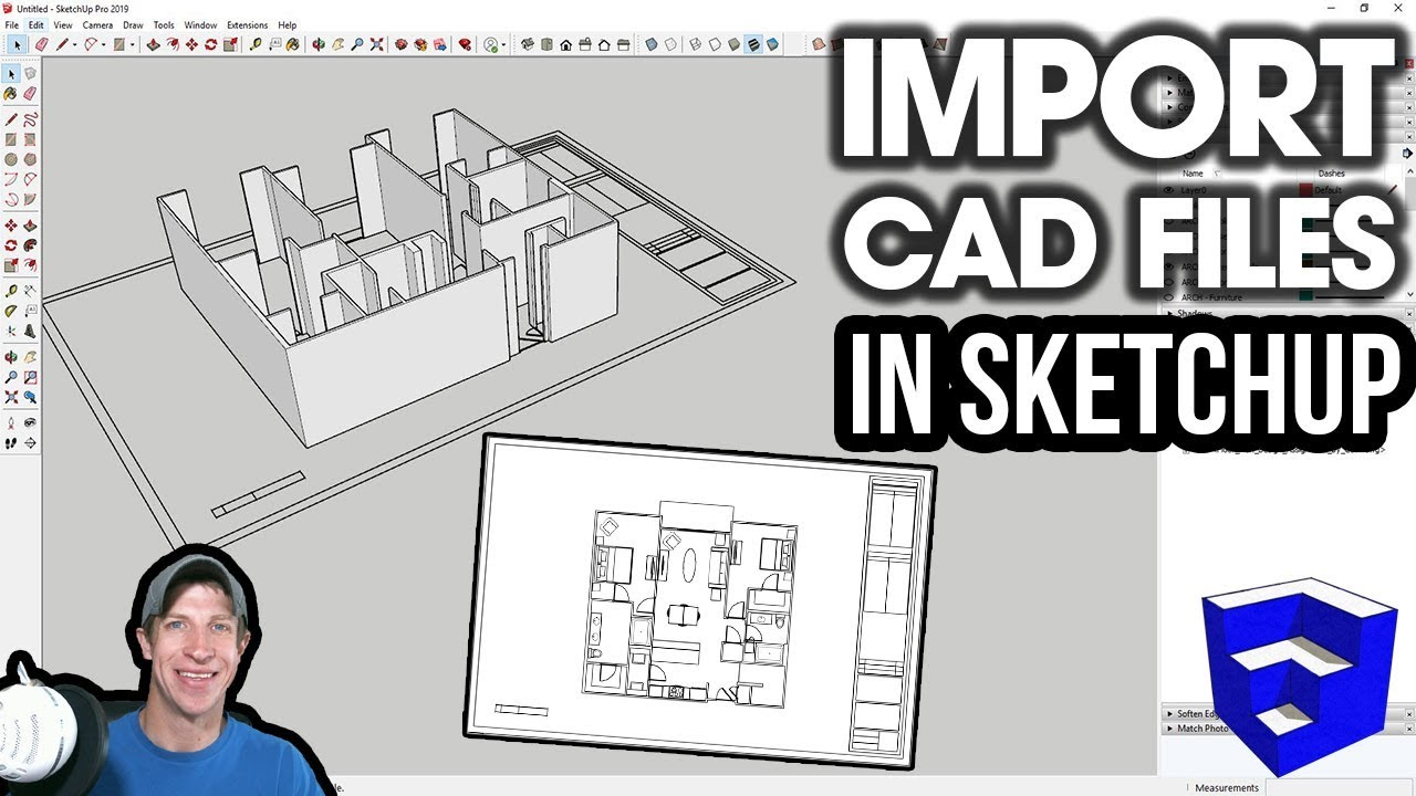 Importing Cad Files Into Sketchup Youtube