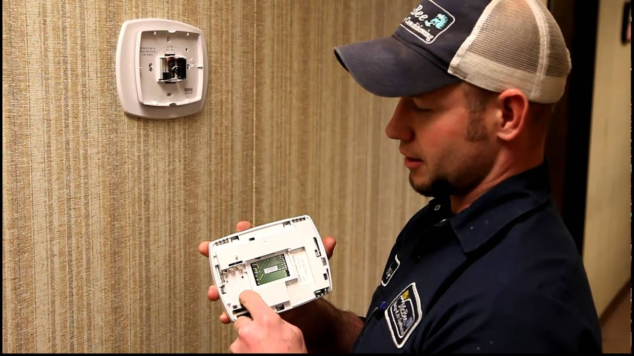 Trane ProgrammableThermostat Battery Change - YouTube