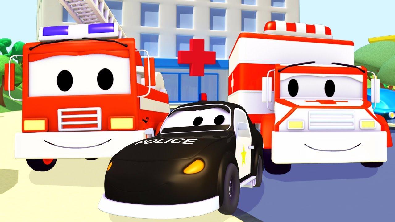 Mobil Patroli Truk Pemadam Kebakaran Dan Mobil Polisi Dan Ambulans Di Kota Mobil Kartun Mobil Youtube