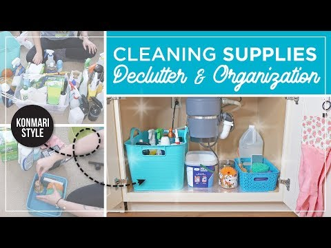 Konmari Cleaning Supplies Declutter | Cleaning Product Organization | Under the Sink Organization