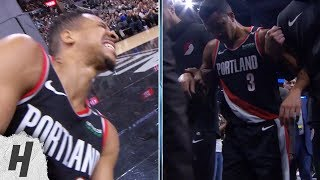 CJ McCollum Leg Injury - Blazers vs Spurs | March 16, 2019 | 2018-19 NBA Season