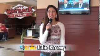 Tulin, the MyTV9 Star, at Jake's Wayback Burgers in Mystic, CT