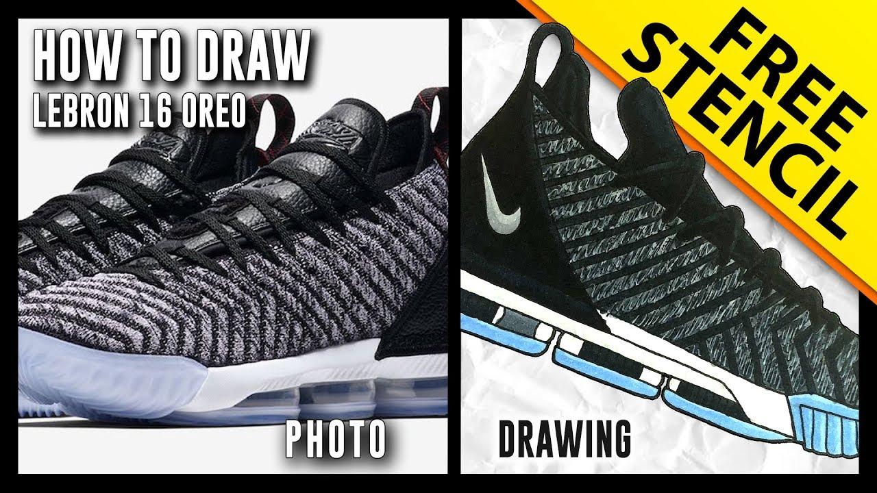 best website 6bbd7 45a80 HOW TO DRAW: Nike Lebron 16 - Step By Step w/ FREE Stencil