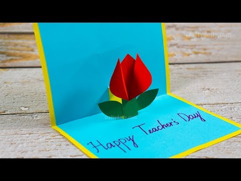 How to make Tulip Flower Pop Up Card | DIY Teacher's Day Pop Up Card | Craft for Kids