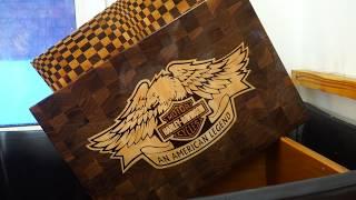 Making Harley Davidson Motor Cycles end grain cutting board