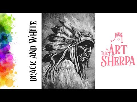 How To Paint With Acrylic On Canvas Native American Black And White | TheArtSherpa