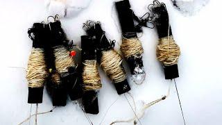 ОСТАВИЛИ ЖЕРЛИЦЫ САМОДЕЛКИ НА НОЧЬ УТРОМ ЖДАЛ БОНУС Зимняя рыбалка 2021