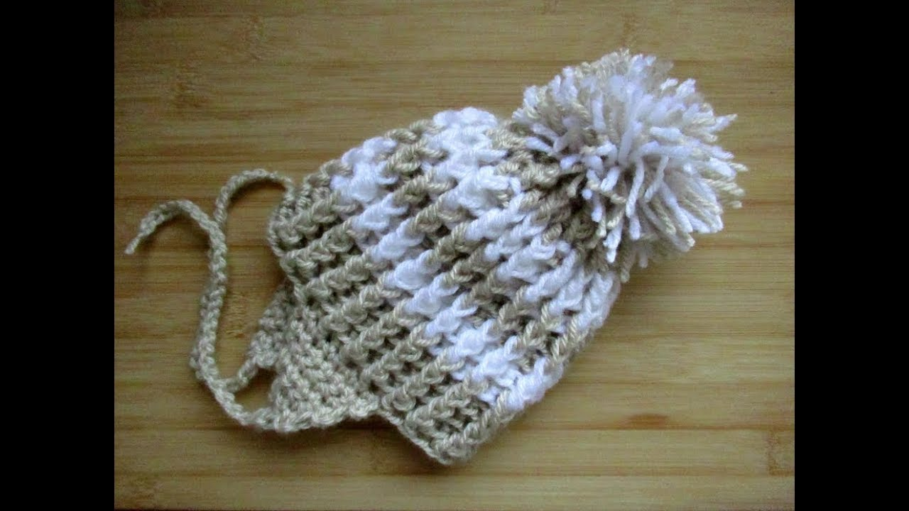 Easy Crochet Baby Hat Pom Pom Tutorial 6 12 Months Ear Flaps Happy