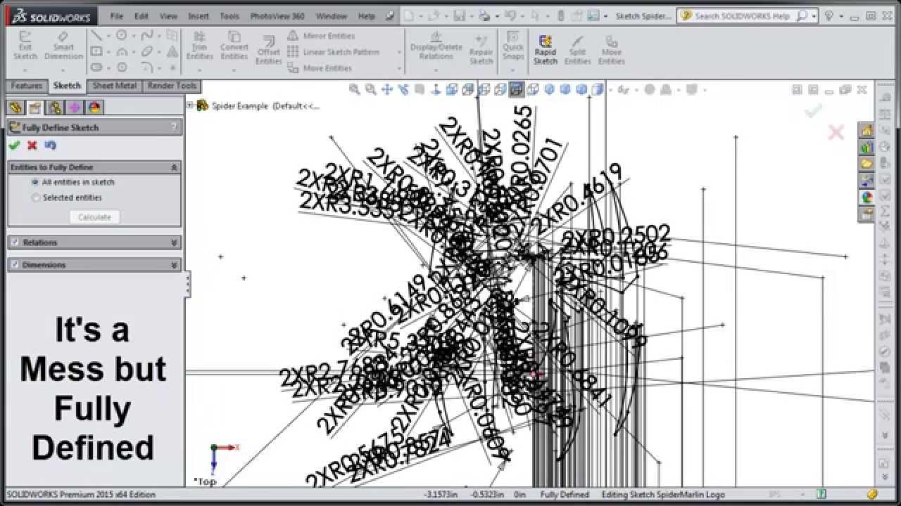 SolidWorks 2015 Tutorial 008 Fully Define Sketch Option