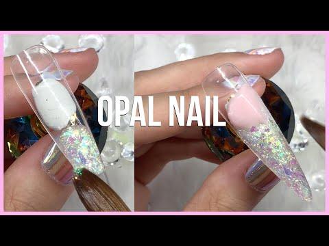 DIY ENCAPSULATED OPAL NAIL DESIGN | ACRYLIC NAIL TUTORIAL thumbnail
